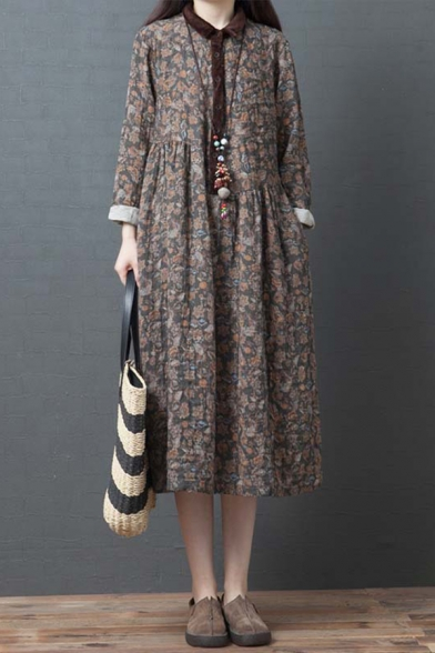 Vintage Ladies Roll Up Sleeve Lapel Collar Button Up Allover Flower Print Contrasted Cotton and Linen Long Pleated Swing Shirt Dress