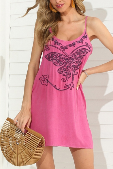 Casual Summer Ladies Sleeveless Round Neck Butterfly Embroidered Ruched Mini A-Line Cami Dress