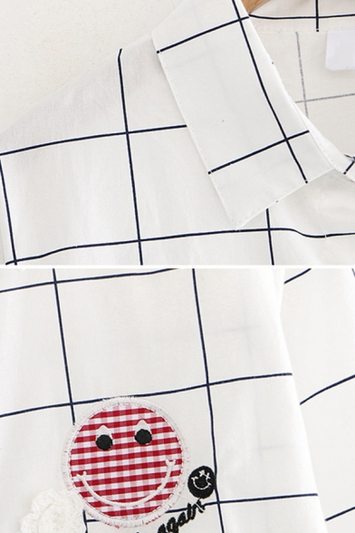 Casual Womens Long Sleeve Lapel Collar Button Down Smile Face Embroidery Plaid Stripe Polka Dot Curved Hem Loose Shirt in White