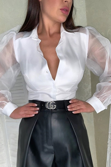 Chic Sexy Ladies Solid Color Blouson Sleeve Lapel Neck Button Down See-Through Mesh Panel Fitted Blouse Top