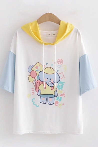Cute Girls Short Sleeve Drawstring Hooded Elephant Printed Colorblock Relaxed Tee Top in White