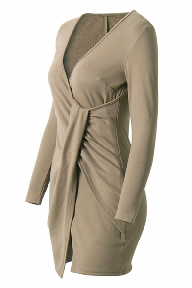 Edgy Girls Long Sleeve Surplice Neck Twist Side Knitted Short Plain Wrap Dress