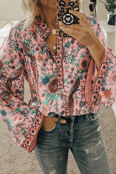 Ethnic Ladies Bell Sleeve Stand Collar Button Up All Over Floral Printed Relaxed Blouse Top
