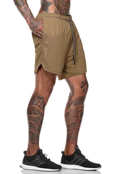 Fitness Athletic Mens Drawstring Waist Letter Printed Relaxed Fit Jogger Shorts
