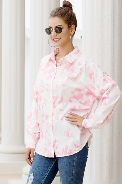 Leisure Classic Ladies Long Sleeve Lapel Neck All Over Floral Patterned Curved Hem Relaxed Shirt