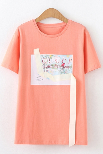Leisure Girls Short Sleeve Round Neck Letter Floral Grpahic Tape Panel Relaxed Tee