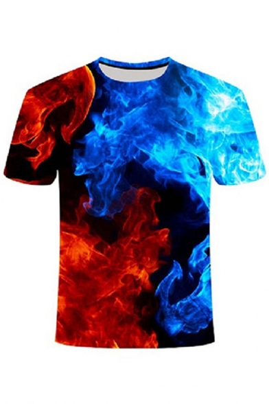 Popular Mens Short Sleeve Round Neck Flame Patterned Relaxed Fit T-Shirt in Blue
