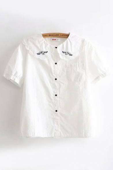 Kawaii Girls Short Sleeve Peter Pan Collar Button Down Flying Pig Embroidered Loose Fit Shirt in White