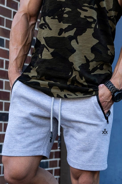 Leisure Mens Drawstring Waist Camo Patterned Zipper Pockets Relaxed Shorts
