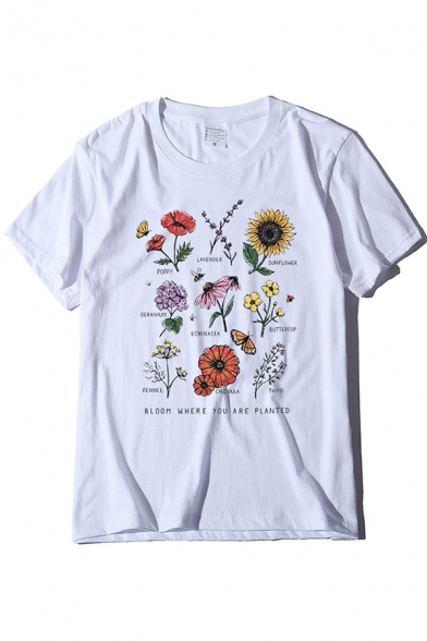 Leisure Summer Roll Up Sleeve Crew Neck Letter Floral Print Fitted Graphic Tee for Girls LC609958 фото
