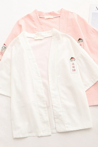 Lovely Girls Short Sleeve Bow Tied Chinese Letter Cartoon Graphic Relaxed Sun Protection Cardigan