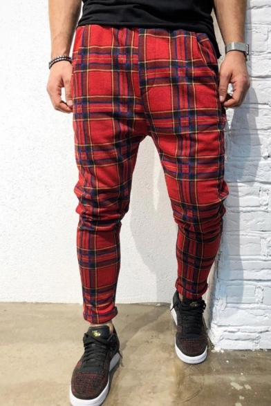 Novelty Fancy Boys Mid Rise Plaid Patterned Rolled Cuffs Ankle Slim Fit Pants