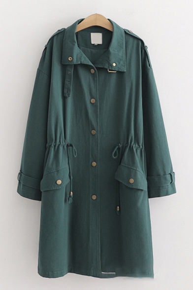 Popular Classic Solid Color Long Sleeve Lapel Neck Button Down Flap Pockets Drawstring Waist Longline Loose Trench Coat