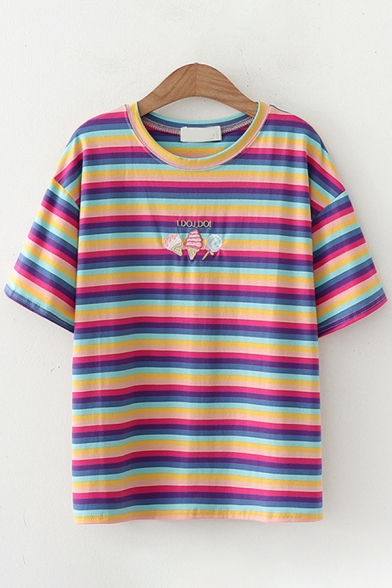 Popular Cute Girls Short Sleeve Round Neck Ice-Cream Candy Embroidered Striped Regular Fit T-Shirt
