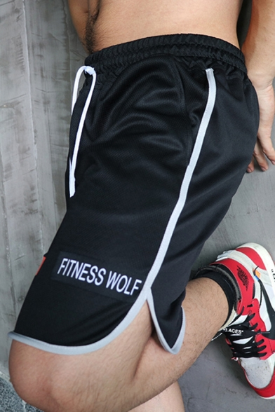 Popular Fitness Mens Drawstring Waist Skull Graphic Contrast Piped Relaxed Fit Shorts