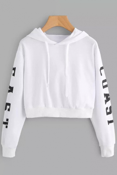 Simple Fashion Girls Long Sleeve Drawstring Letter COAST EAST Loose Cropped Hoodie