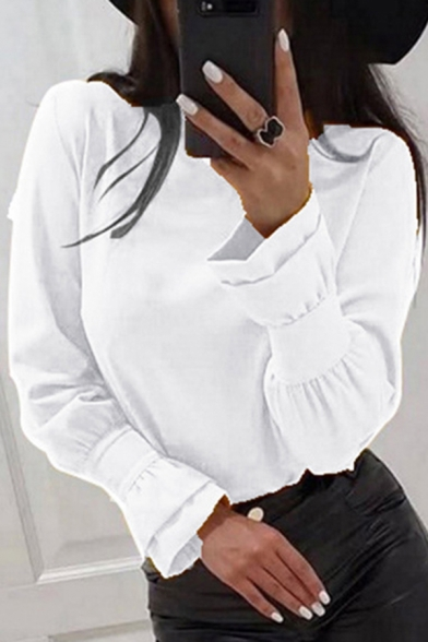 Stylish Womens Long Sleeve Round Neck Ruffled Trim Solid Color Loose Blouse Top