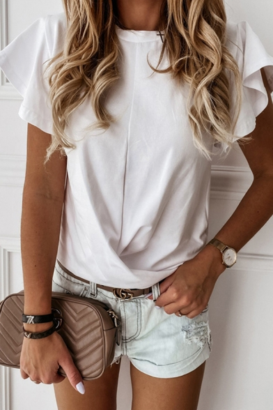 Chic Leisure Womens Ruffled Short Sleeve Round Neck Solid Color Loose Fit T Shirt