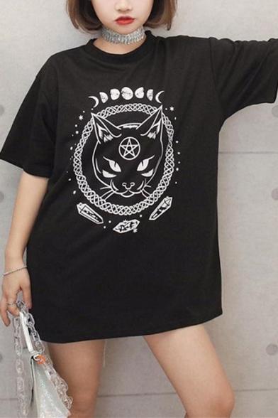 Cool Popular Girls Black Short Sleeve Crew Neck Cat Patterned Oversize T Shirt