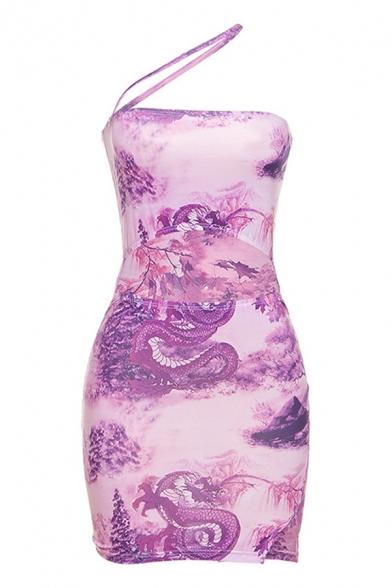 Edgy Ladies Purple Sleeveless Irregular Halter Allover Flower Pattern Cut Out Slit Side Mini Fit Cami Dress