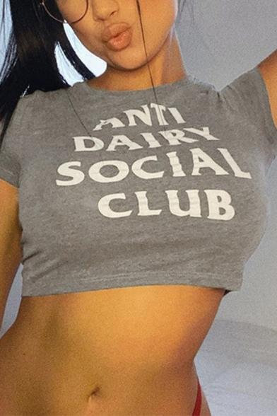 Hot Trendy Ladies Short Sleeve Crew Neck Letter ANTI DAIRY SOCIAL CLUB Slim Fit Crop T Shirt in Gray