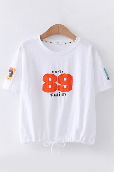 Leisure Girls Short Sleeve Round Neck Number 89 Embroidered Cartoon Patched Drawstring Hem Relaxed Tee Top