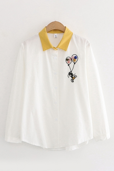 Pretty Girls Long Sleeve Lapel Collar Button Down Balloon Embroidery Contrasted Striped Polka Dot Curved Hem Shirt in White