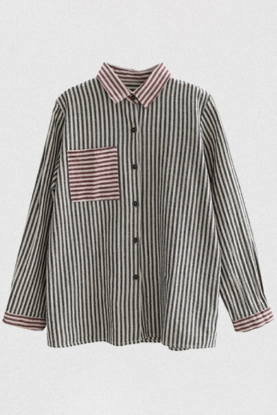 Simple Girls Long Sleeve Lapel Neck Button Down Stripe Printed Contrast Linen and Cotton Relaxed Fit Shirt in Brick Red