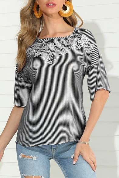 Stylish Womens Short Sleeve Square Neck Floral Stripe Pattern Relaxed Fit Blouse