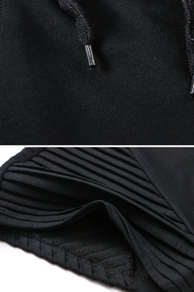 Training Casual Guys Drawstring Waist Contrasted Slim Fitted Cotton Shorts