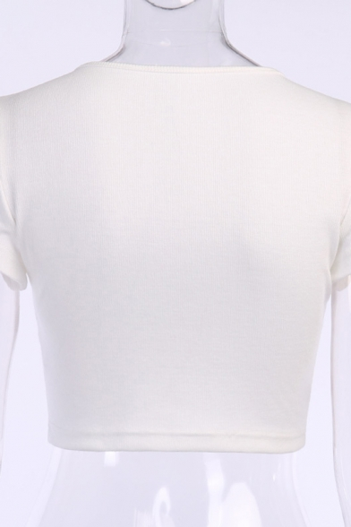 Basic Womens Short Sleeve V-Neck Chain Decoration Fitted Crop T-Shirt in White