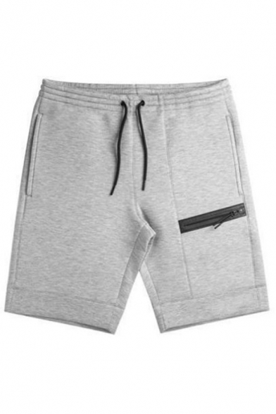 Boys Training Drawstring Waist Zipper Pocket Solid Color Relaxed Shorts in Light Gray