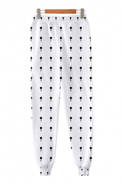 Chic Unique Guys Drawstring Waist Polka Dot Symbol Printed Cuffed Ankle Carrot Fit Sweatpants