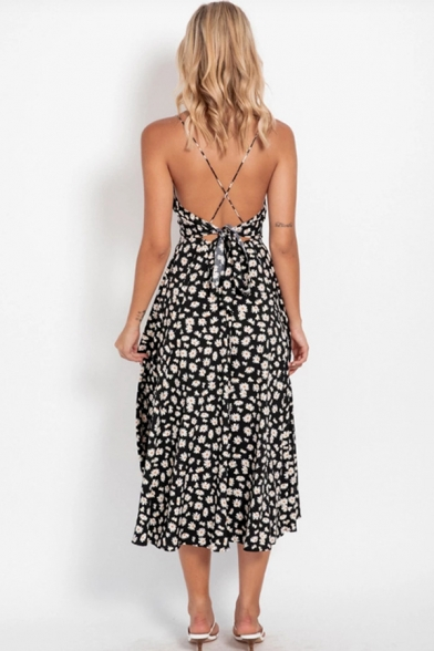 Glamorous Ladies Sleeveless Surplice Neck Ditsy Floral Printed Hollow Out Bow Tie Back Long Pleated A-Line Cami Dress
