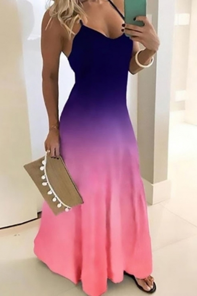 Glamorous Ladies Sleeveless V-Neck Ombre Long A-Line Cami Dress