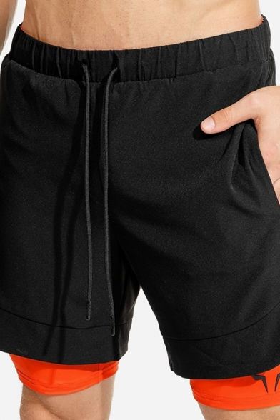 Popular Fitness Mens Drawstring Waist Logo Print Color Block Fake Two Piece Slim Fitted Shorts
