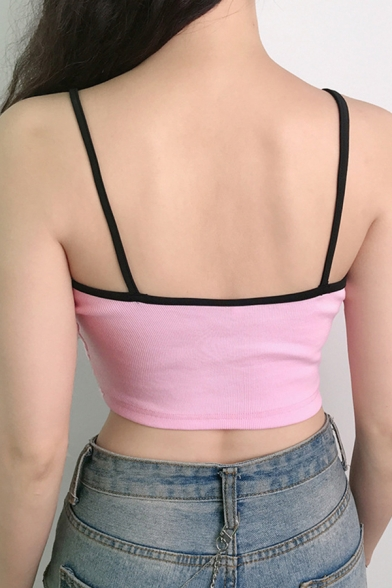 Sexy Girls Sleeveless Letter BYE Print Contrast Piped Knitted Fit Crop Cami in Pink