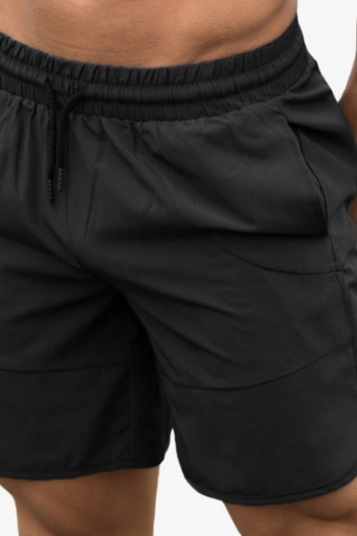 Gym Training Mens Drawstring Waist Solid Color Slit Side Relaxed Jogger Shorts