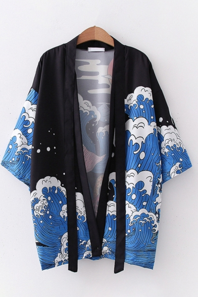 Harajuku Womens Three-Quarter Sleeve Straps Wave Patterned Loose Fit Sun Protection Cardigan