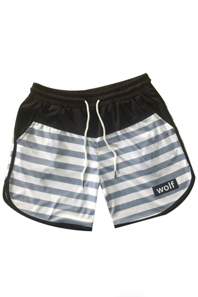 Leisure Muscle Mens Drawstring Waist Stripe Print Wolf Graphic Relaxed Shorts in Gray
