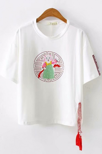 Lovely Girls Short Sleeve Round Neck Cartoon Printed Contrasted Fringe Relaxed Tee