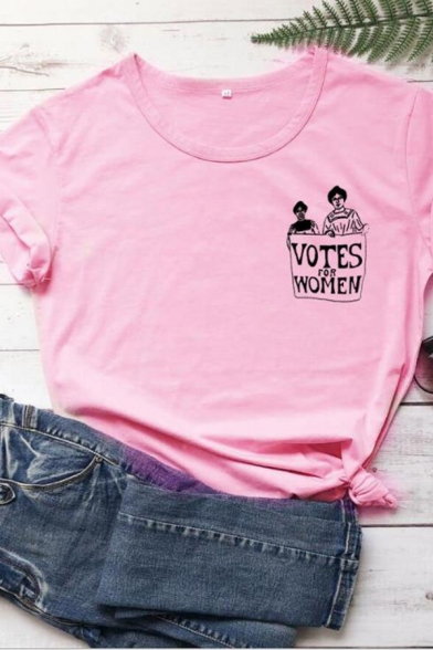 Popular Womens Short Sleeve Round Neck Letter VOTES FOR WOMEN Cartoon Graphic Relaxed T-Shirt