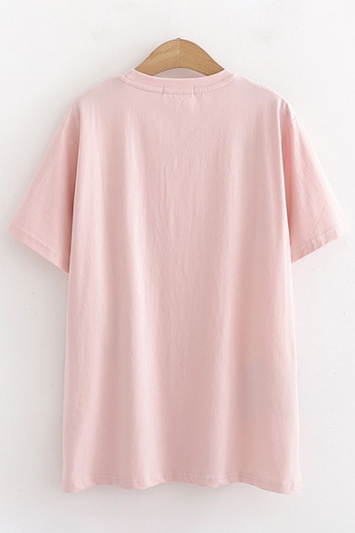 Preppy Girls Short Sleeve Round Neck Cat Embroidered Loose Fit T-Shirt