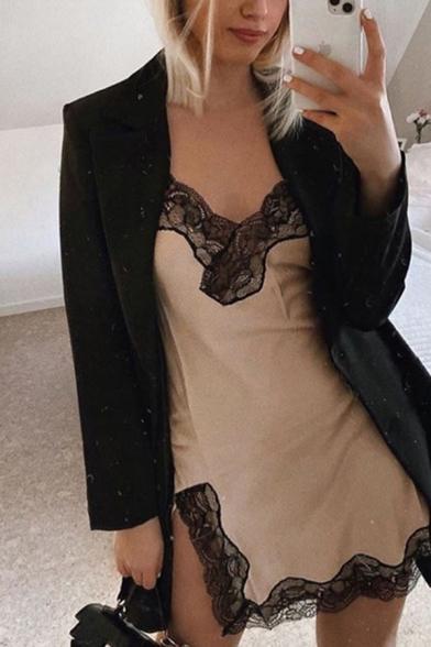 Sexy Womens Sleeveless Surplice Neck Lace Trim Split Side Mini A-Line Cami Dress