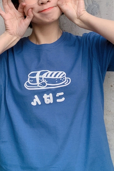 Trendy Womens Short Sleeve Crew Neck Japanese Letter Sushi Graphic Relaxed Fit T-Shirt
