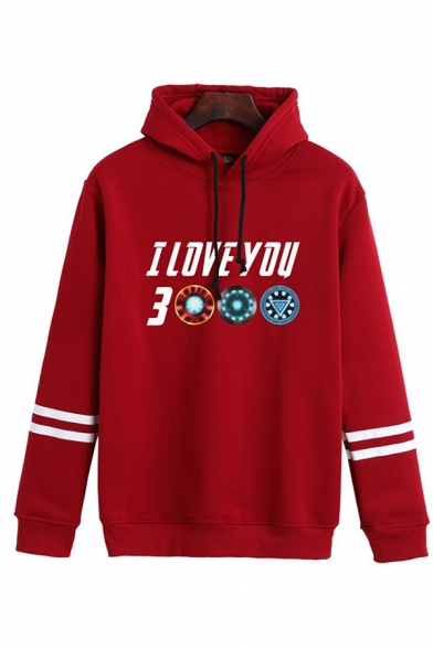Casual Guys Long Sleeve Drawstring Letter I LOVE YOU 3000 Graphic Varsity Stripe Relaxed Hoodie