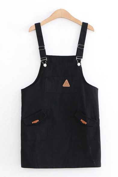 Chic Fancy Sleeveless Flap Pocket Patchwork Mini Shift Suspender Dress for Girls LM612331 фото