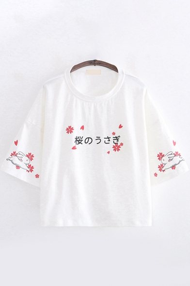 Cute Girls Three-Quarter Sleeve Round Neck Japanese Letter Floral Graphic Relaxed Fit T-Shirt