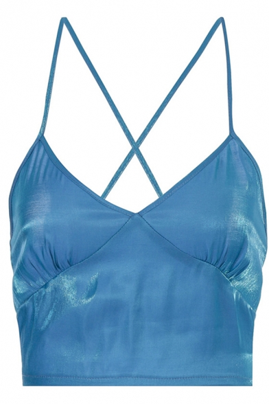 Hot Party Girls Sleeveless Hollow Out Back Metallic Slim Fit Cami Top in Blue