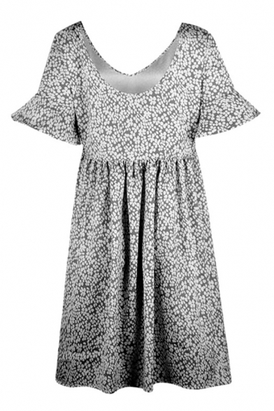 Leisure Womens Bell Sleeve Round Neck Ditsy Floral Pattern Ruched Midi Swing Dress